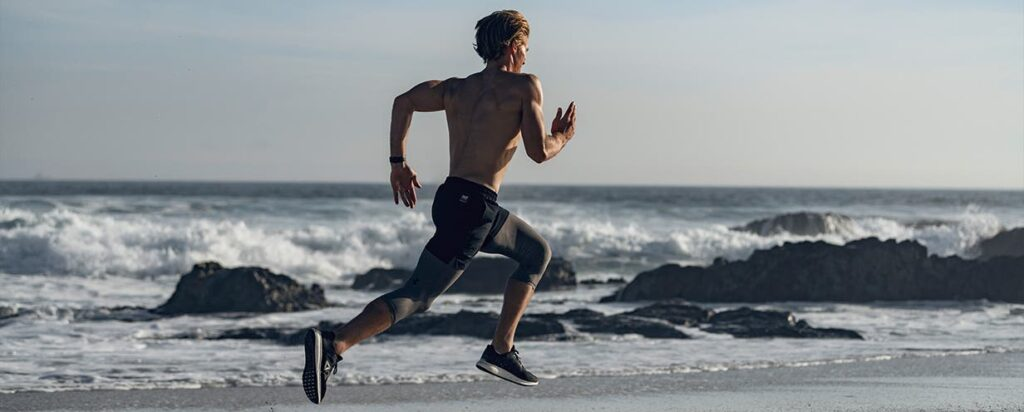 man running at the beach