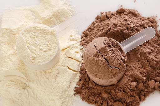 scoops of protein chocolate and vanilla